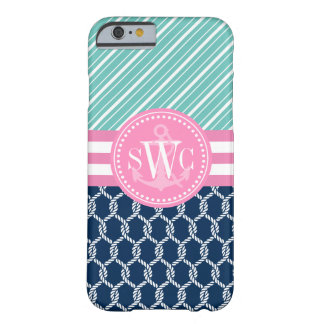 Girly Nautical Ropes Stripes Personalized Monogram Barely There iPhone 6 Case