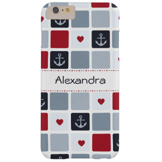 Girly Navy and Red Anchor Heart Pattern With Name Barely There iPhone 6 Plus Case