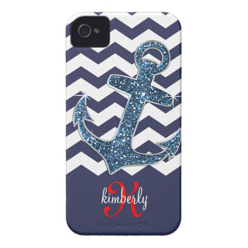 Girly Navy Faux Glitter Anchor Chevron Chic iPhone 4 Case-Mate Case