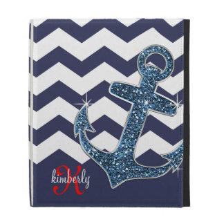Girly Navy Faux Glitter Anchor Chevron Chic iPad Cases