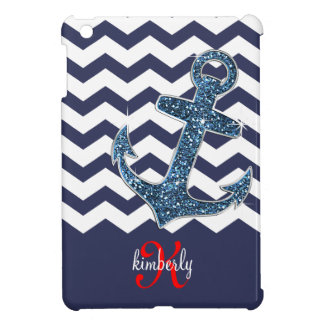 Girly Navy Faux Glitter Anchor Chevron Chic iPad Mini Cover