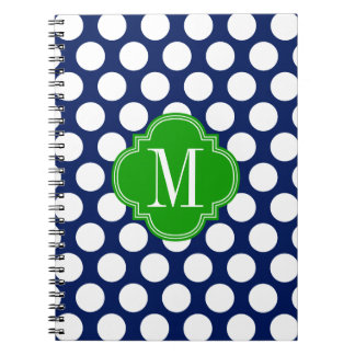 Girly Navy & Green Big Dots Monogrammed Spiral Note Book