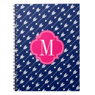 Girly Navy & Pink Arrows Custom Note Books