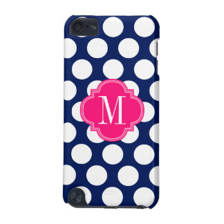 Girly Navy & Pink Big Dots Monogrammed iPod Touch 5G Cover