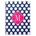 Girly Navy & Pink Big Dots Monogrammed Note Books