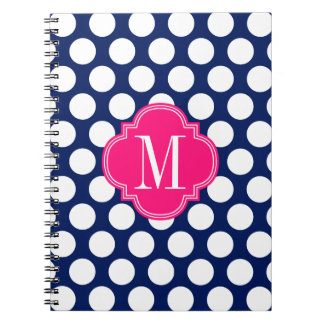 Girly Navy & Pink Big Dots Monogrammed Spiral Notebook