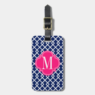 Girly Navy & Pink Diamond Lattice Personalized Luggage Tags