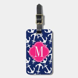 Girly Navy & Pink Diamond Lattice Personalized Luggage Tag