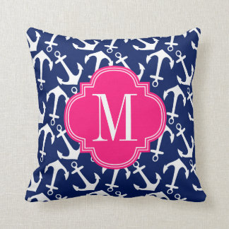Girly Navy & Pink Diamond Lattice Personalized Throw Pillow