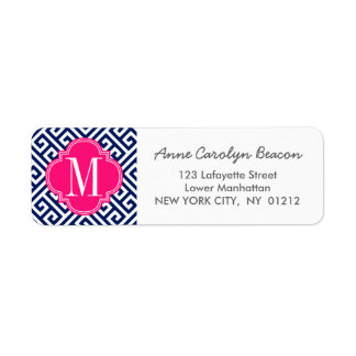 Girly Navy & Pink Greek Key Pattern Custom Label