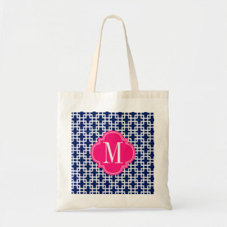 Girly Navy & Pink Squares Pattern Custom Tote Bag