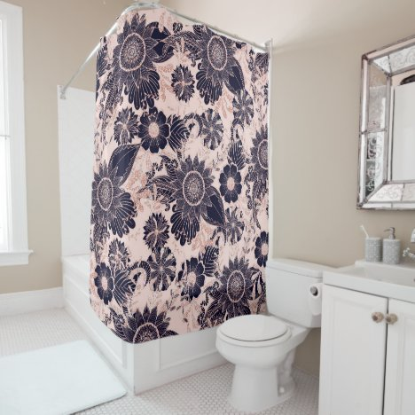 Girly Navy Rose Gold Glitter Floral Illustrations Shower Curtain