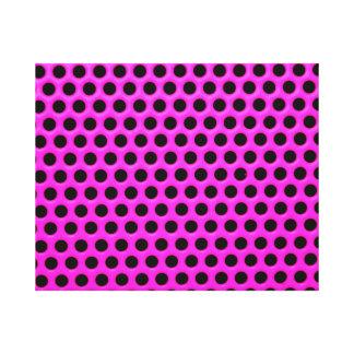 Girly Neon Pink Black Polka Dots Floral Pattern Canvas Print