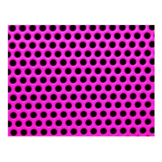 Girly Neon Pink Black Polka Dots Floral Pattern Postcard
