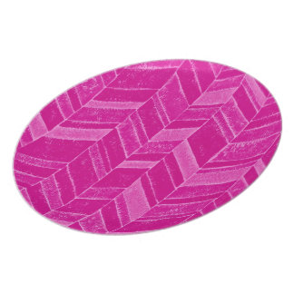 Girly Neon Pink Chevron Pattern Dinner Plate