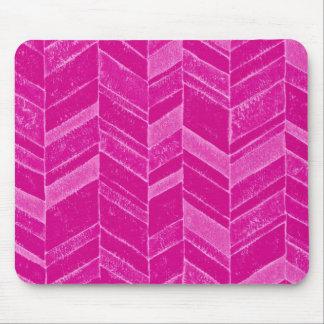 Girly Neon Pink Chevron Pattern Mouse Pad