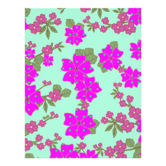 Girly Neon Pink Green Polka Dots Floral Pattern Flyer