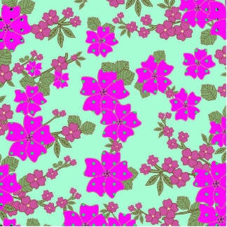Girly Neon Pink Green Polka Dots Floral Pattern Statuette