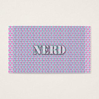 Girly Nerd , Geek Pink Teal Binary Code 010101 Business Card
