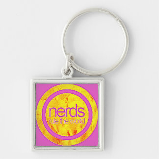girly nerds rule the world Silver-Colored square keychain