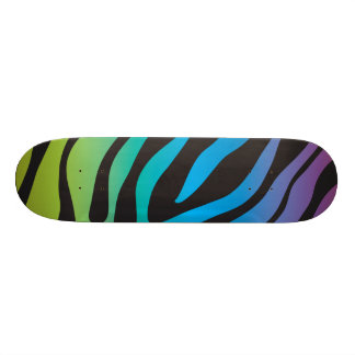 Girly New Multi colored Zebra Print Animal Print Skateboard