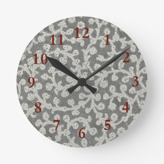 Girly Old Fashioned Lace Elegance Round Clock