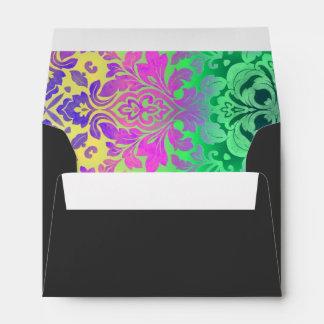 girly ombre Fuschia green damask pattern Envelopes