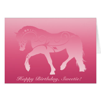 Girly Ombre Horse Silhouette Card
