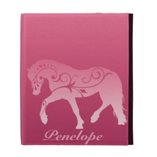 Girly Ombre Horse Silhouette iPad Folio Cover