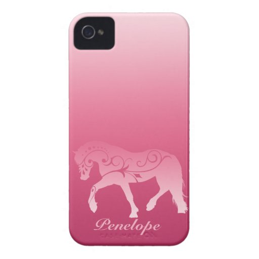 Girly Ombre Horse Silhouette iPhone 4 Case-Mate Case