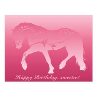 Girly Ombre Horse Silhouette Postcard