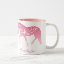 Girly Ombre Horse Silhouette Two-Tone Coffee Mug