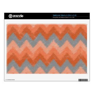 Girly Orange and Gray Bohemian Chevron Pattern Skins For Medium Netbooks