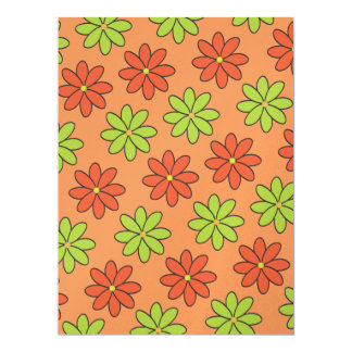 Girly Orange and Lime Flowers Card