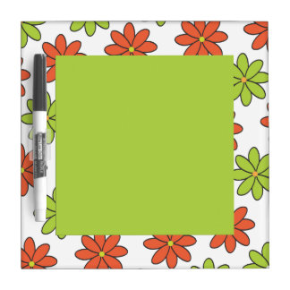 Girly Orange and Lime Flowers Dry-Erase Whiteboard