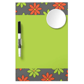 Girly Orange and Lime Flowers Dry-Erase Whiteboards