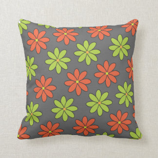 Girly Orange and Lime Flowers Pillow