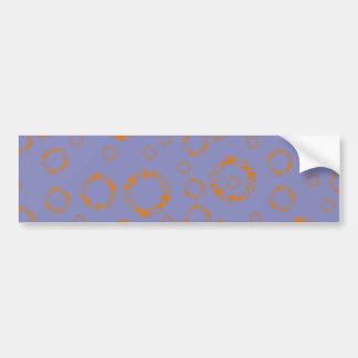girly orange blue circle squares pattern dizzy art bumper sticker