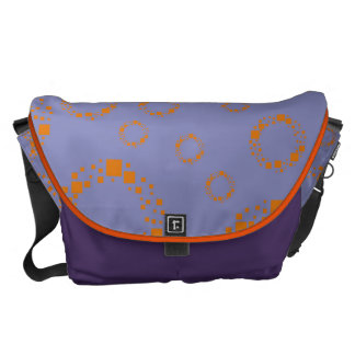 girly orange blue circle squares pattern dizzy art courier bag