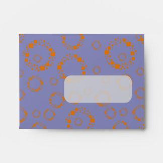 girly orange blue circle squares pattern dizzy art envelopes