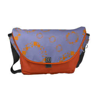girly orange blue circle squares pattern dizzy art messenger bag