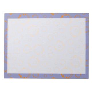 girly orange blue circle squares pattern dizzy art notepads