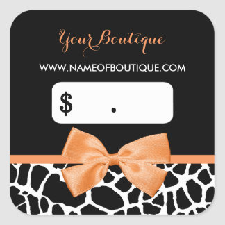Girly Orange Bow Giraffe Print Boutique Price Tags
