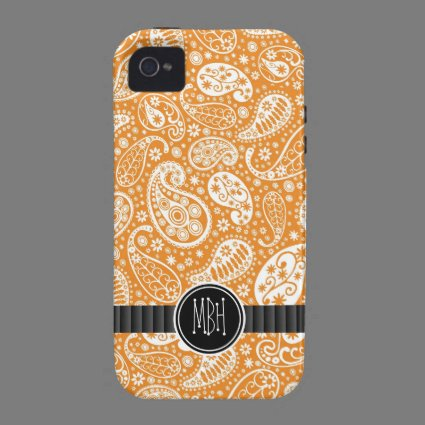 Girly Orange Country Paisley Pattern Personalized Case-Mate iPhone 4 Cover