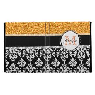Girly, Orange, Glitter Black Damask Personalized iPad Folio Case