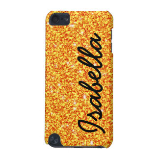 GIRLY ORANGE GLITTER PRINTED PERSONALIZED iPod TOUCH 5G COVER