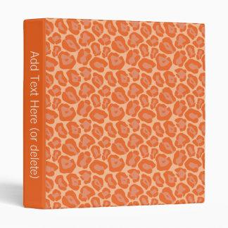 Girly Orange Leopard Pattern Vinyl Binder
