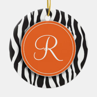 Girly Orange Monogram Zebra Print Ornament