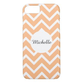 Girly orange peach white chevron pattern iPhone 8/7 case
