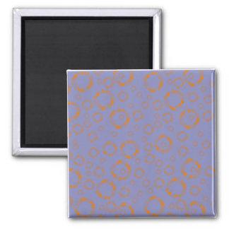 girly orange purple circle squares pattern dizzy refrigerator magnets